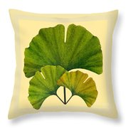 Arts And Crafts Movement Ginko Leaves Throw Pillow