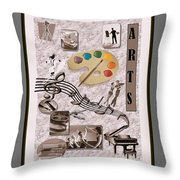 Arts Collage Throw Pillow