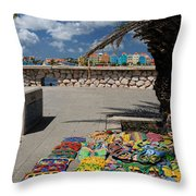 Artwork At Street Market In Curacao Throw Pillow