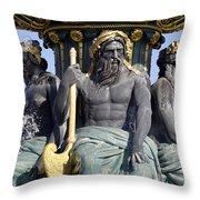 Artwork On The Public Fountains At Place De La Concorde In Paris France Throw Pillow