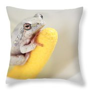 Arum Lily Frog Throw Pillow
