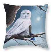 White Snow Owl Painting Throw Pillow