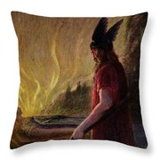 As The Flames Rise Odin Leaves Throw Pillow