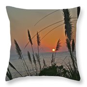 as the sun sets at Seascape Throw Pillow