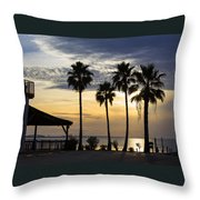 As The Sun Sets South Padre Island Texas Throw Pillow