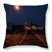 Asbury Park Boardwalk At Night Throw Pillow