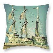 Asbury Park Convention Hall Ship Throw Pillow