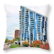 Ascent Building Near Roebling Bridge 9854 Throw Pillow