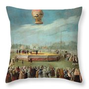 Ascent Of A Balloon In The Presence Of The Court Of Charles Iv Throw Pillow