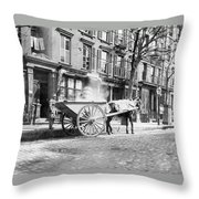 Ash Cart New York City 1896 Throw Pillow by Unknown