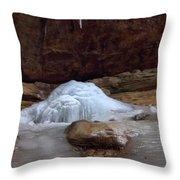 Ash Cave Frozen Over Throw Pillow
