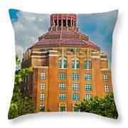 Asheville City Hall Throw Pillow by John Haldane