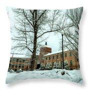 Asheville High School During Winter Throw Pillow