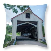Ashtabula Collection - Mechanicsville Road Covered Bridge 7k0207 Throw Pillow