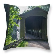 Ashtabula Collection - Middle Road Covered Bridge 7k01959 Throw Pillow