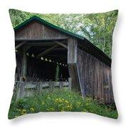 Ashtabula Collection - Riverdale Road Covered Bridge 7k02981 Throw Pillow