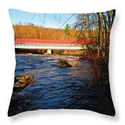 Ashuelot Covered Bridge Scene Throw Pillow