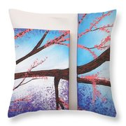 Asian Bloom Triptych 1 2 Throw Pillow