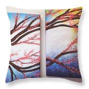 Asian Bloom Triptych 2 3 Throw Pillow