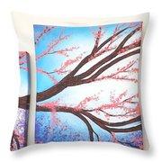 Asian Bloom Triptych Throw Pillow