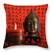 Asian Candle With Red Orential Background Throw Pillow by Sandra Cunningham