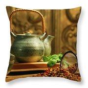 Asian Herb Tea Throw Pillow by Sandra Cunningham