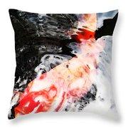 Asian Koi Fish - Black White And Red Throw Pillow
