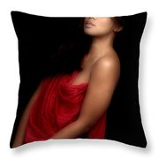 Asian Woman In Red  Throw Pillow
