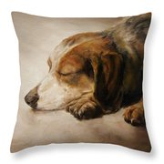 Asleep Throw Pillow