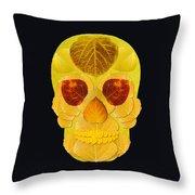 Aspen Leaf Skull 1 Black Throw Pillow