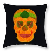 Aspen Leaf Skull 3 Black Throw Pillow