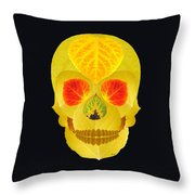 Aspen Leaf Skull 4 Black Throw Pillow