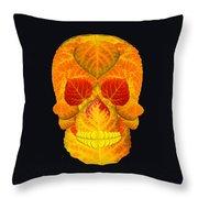 Aspen Leaf Skull 6 Black Throw Pillow