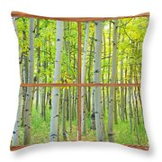 Aspen Tree Forest Autumn Picture Window Frame View  Throw Pillow