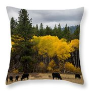 Aspens And Cows Throw Pillow