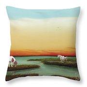 Assateague Island Sunset Throw Pillow