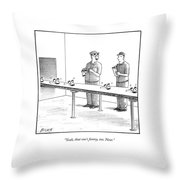 Assembly Line Worker Trying On 'groucho Marx' Throw Pillow