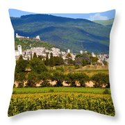 Assisi From The Sunflower Fields Throw Pillow