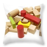 Assorted Building Blocks Throw Pillow