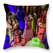 Assorted Colored Bottles Throw Pillow