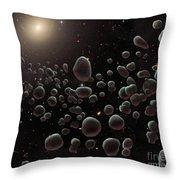 Asteroid Belt, Illustration Throw Pillow