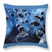 Asteroid Mining Station Throw Pillow