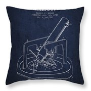 Astronomical Telescope Patent From 1943 - Navy Blue Throw Pillow