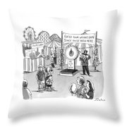 At A Carnival The Banner Reads Throw Pillow