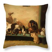 At A Dogs' Home Throw Pillow