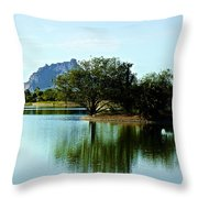 At Fountain Park - View At Red Rock Throw Pillow