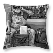 At His Office - Grandpa Elliott Small Bw Throw Pillow