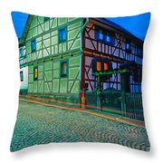 At Night In Thuringia Village Germay Throw Pillow
