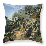 At Noon On A Cactus Plantation In Capri Throw Pillow