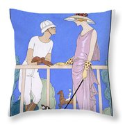 At Polo Throw Pillow by Georges Barbier